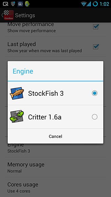 Stockfish engine options