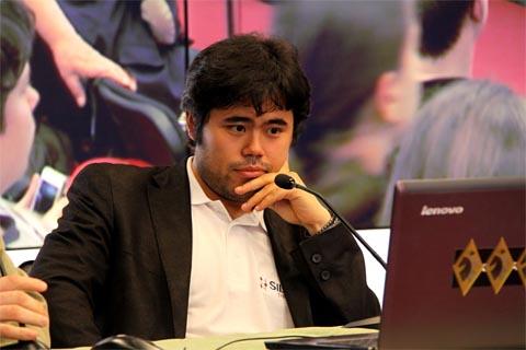 Hikaru Nakamura toppled his client Sergey Karjkin. Photo by Etery Kublashvili.