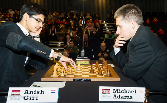 Giri played energetically against Adams and was rewarded.
