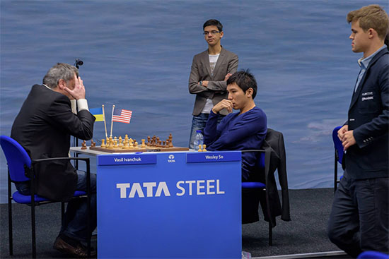 So had pulled ahead of Nakamura on the FIDE list by three ELO point at 2785 after his +4 performance at Tata Steel Masters. Nakamura would not be outdone. Photo by Nadja Wittmann (ChessBase).