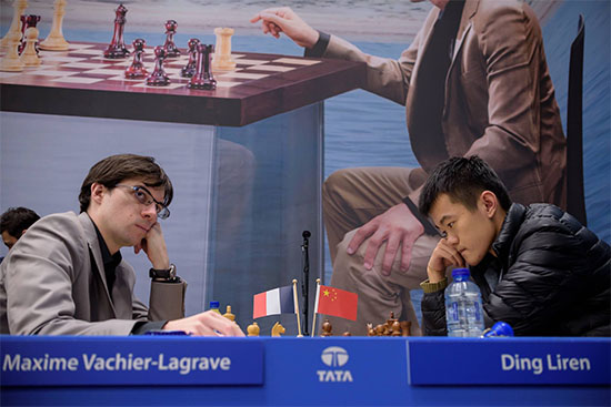 MVL polished off Ding Liren to inch closer to contention with 3½-2½.. Photo by Nadja Wittmann.