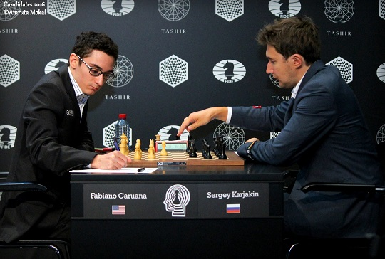 Thrilling battle today against would be hopefuls to face Magnus Carlsen. Photo by Amrita Mokul.