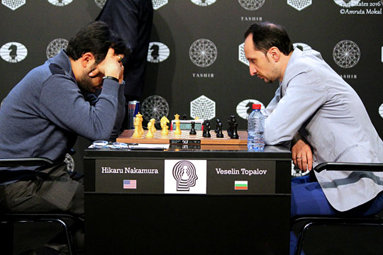 Very tense battle between two tail-enders. Topalov tried to break through, but Nakamura found the right moves. Photos by Amrita Mokal.
