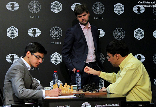 Are they signing the scoresheets for a draw already? No... but Anish Giri has a new nickname ...