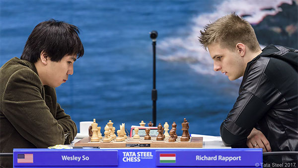 Richard Rapport caught Wesley So off guard and seized the advantage, but then threw it all away in one move. Photo by Alina L'Ami