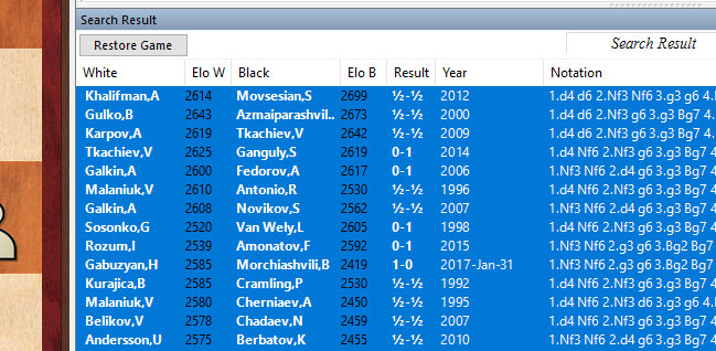 ChessBase 14 Search results select all
