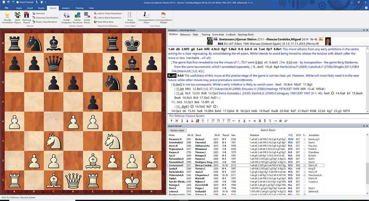 ChessBase 14 annotated game results