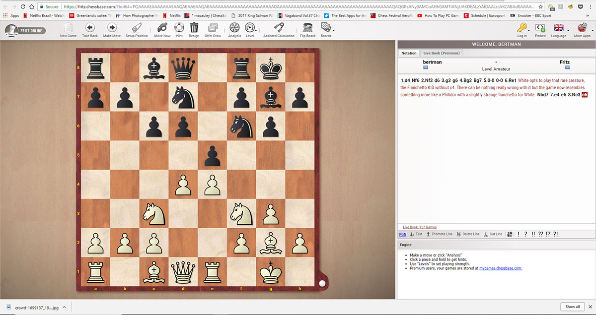 Play Fritz with a ChessBase account