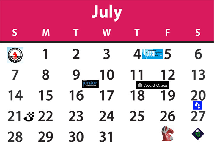 Chess Calendar July 2019 Chessbase