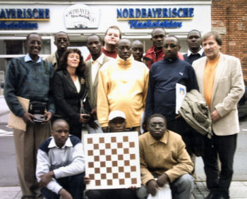 Ugandan chess delegation on a 2005 trip to Forcheim, Germany.