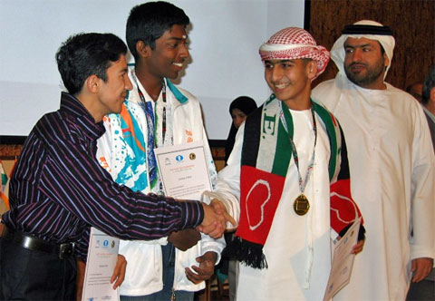 Under-16 Boys: (L-R) Third place Ikrom Ilhomzade from Tajikistan, second place B. Adhiban from India and first place A.R. Saleh Salem from United Arab Emirates.