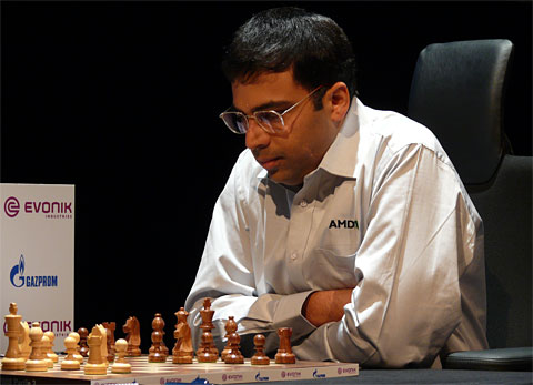Viswanathan Anand focuses in game three. Photo by Frederic Friedel.