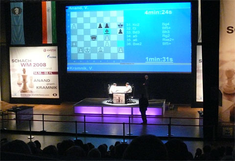 Two titans battle it out as time pressure looms near. Photo by Frederic Friedel (ChessBase).