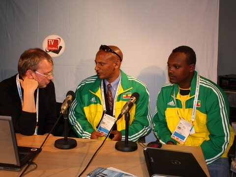 André Schulz of ChessBase TV interviewing two Ethiopian players.