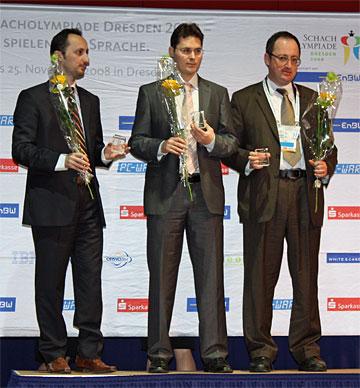 Veselin Topalov (6.5/8 - 2821 TPR), Peter Leko (7.5/10 - 2834), Boris Gelfand (7.5/10 - 2833)