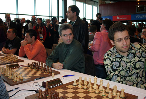 Defending Olympic Champions: Armenian (L-R) - Tigran Petrosian, Gabriel Sargissian, Vladimir Akopian and Levon Aronian