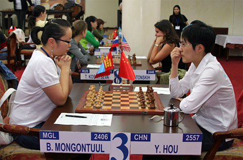 WGM Bathuyang Mongontuul (Mongolia) vs. WGM Hou Yifan (China)