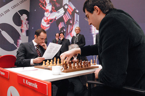 Veselin Topalov and Vladimir Kramnik prepare for battle!