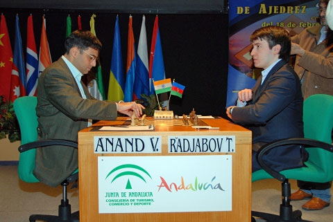 Viswanathan Anand preparing to take on Teimour Radjabov in round #1 in Linares.