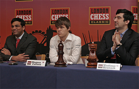 GMs Viswanathan Anand, Magnus Carlsen and Vladimir Kramnik. Photo by Frederic Friedel.