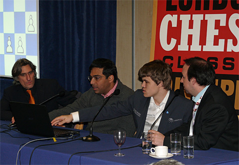 2012 Heavyweight clash... Anand won this game but Carlsen won the tournament... again. Photo by Frederic Friedel.