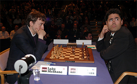 Nakamura (right) played well, but allowed McShane to snatch a draw from the jaws of defeat. Photo by Christian Sasse.