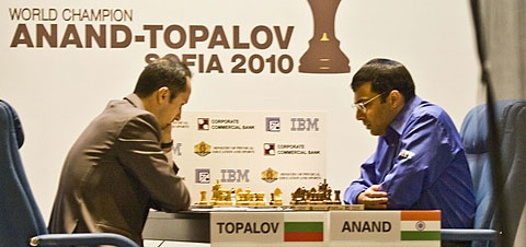 Anand and Topalov playing