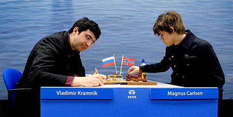 Kramnik-Carlsen ended badly for the Russian who couldn't hold the ending. Carlsen gave some advice that probably isn't the most practical when he said whenever Kramnik offers a draw then one should play on! Photo by Frits Agterdenbos of ChessVista.