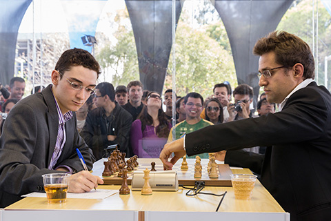 GM Fabiano Caruana against GM Levon Aronian.