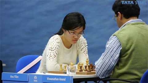 Hou Yifan fought from the brink of defeat to earn a draw. Photo by ChessBase.