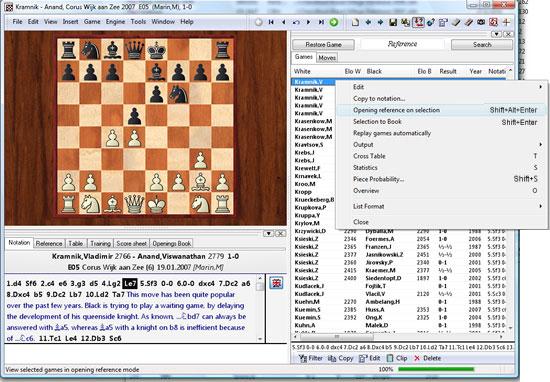 Ventana de ejemplo de ChessBase