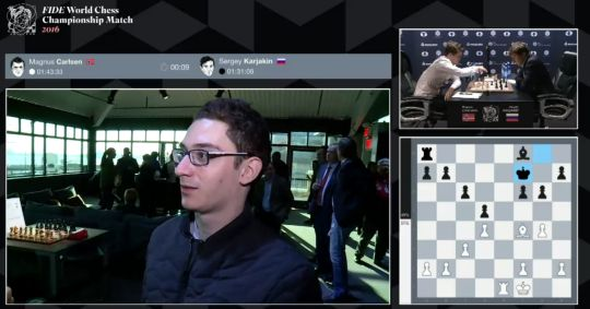 Caruana speaks on Carlsen's white game. Photo by World Chess