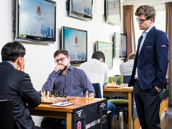 Magnus takes an interest in the opening of Anand vs. Vachier-Lagrave