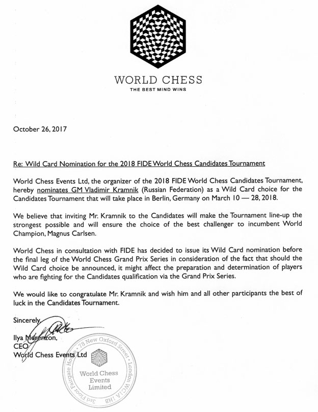 World Chess nomination letter candidates 2018 to Kramnik