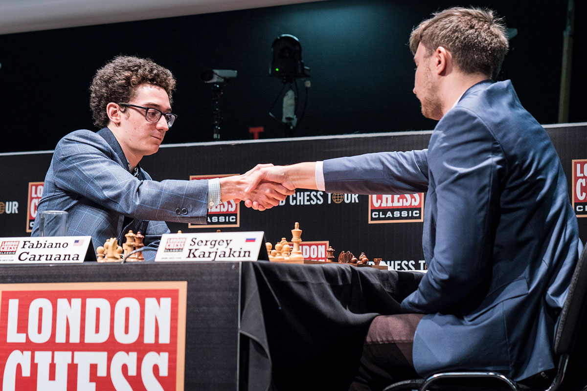 Fabiano Caruana and Sergey Karjakin by Lennart Ootes