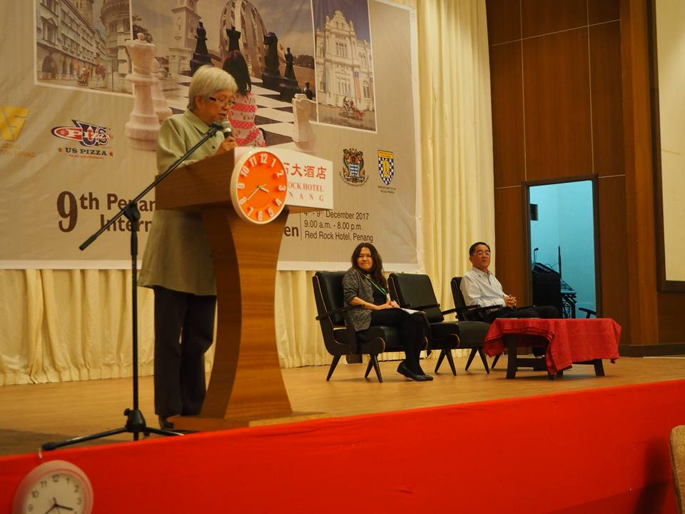 Y.B. Chong Eng, speaking at the Opening Ceremony