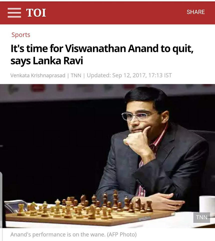 Headline from Times of India: It's time for Viswanathan Anand to quit