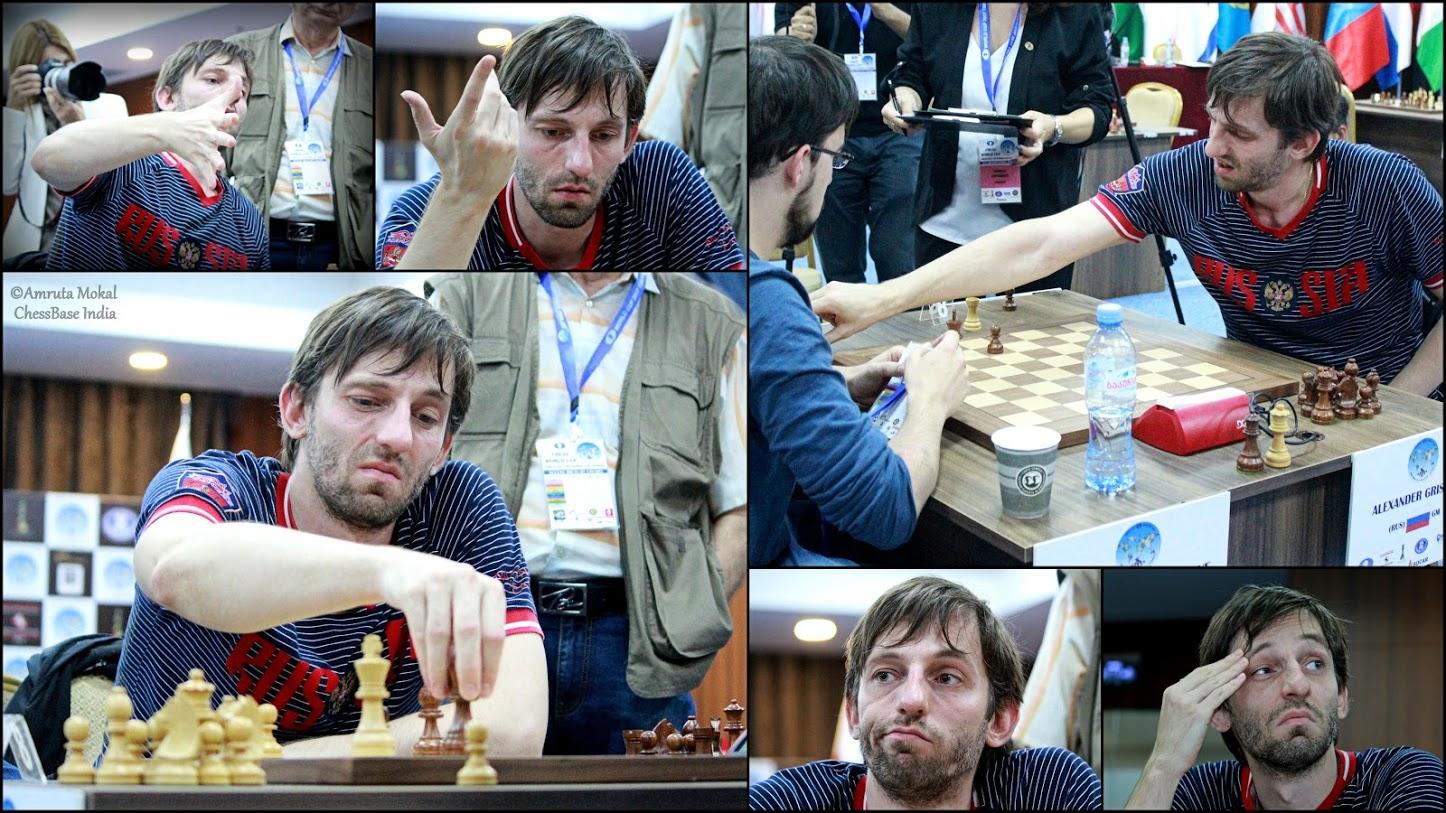 Las diversas expresiones en la cara de Alexander Grischuk durante el duelo | Foto: Amruta Mokal
