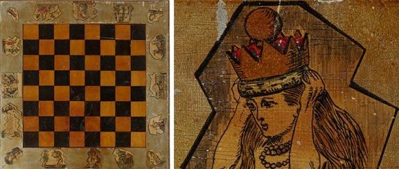 Imagen de un tablero de ajedrez y de un detalle en la que se ve a Alicia, de Sir John Tenniel, 1875