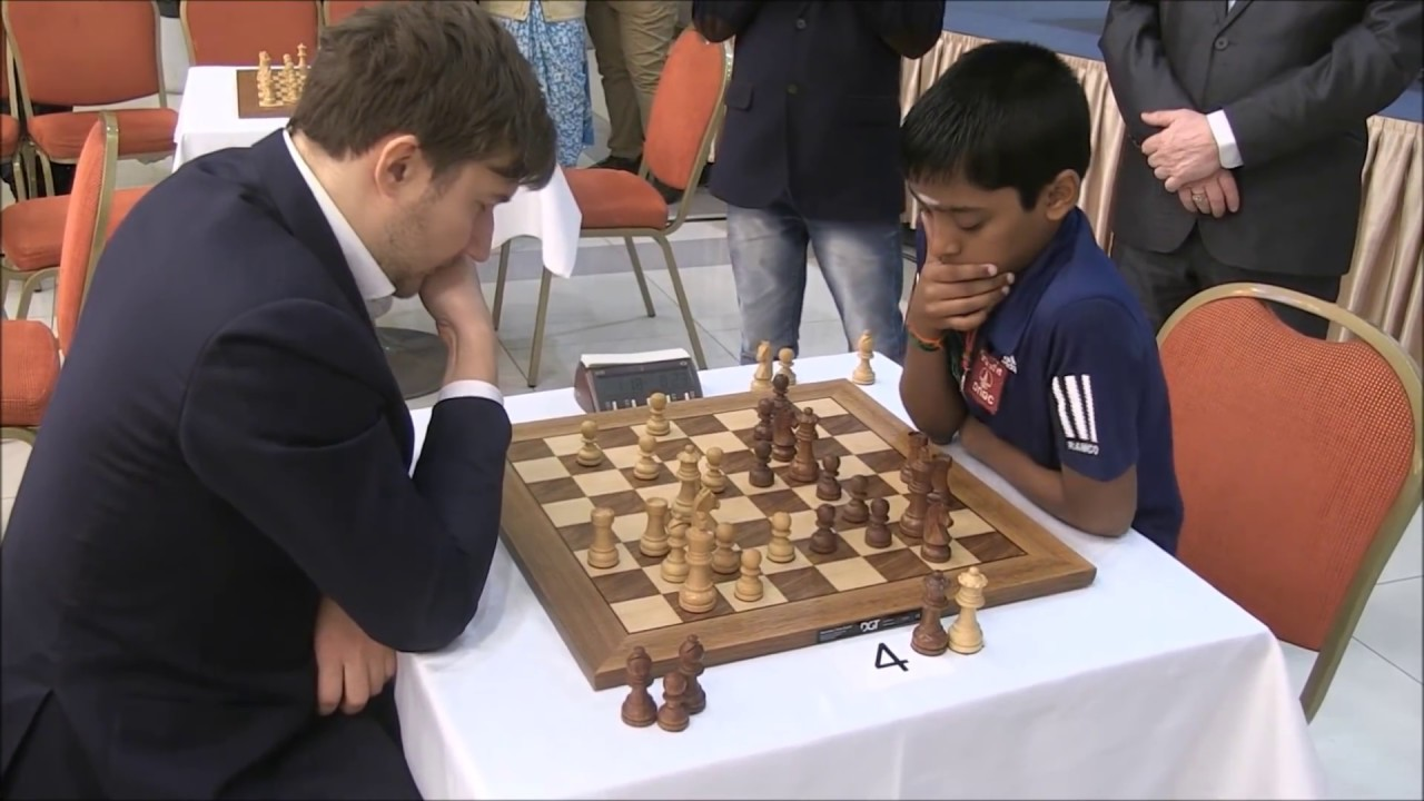 Praggnanandhaa during his game against Sergey Karjakin at the Aeroflot blitz 2018