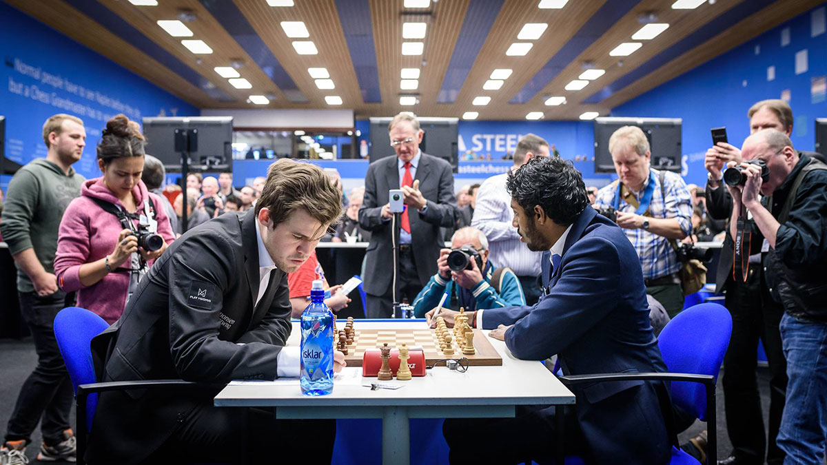 Magnus Carlsen won with black over Adhiban