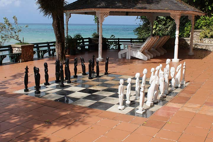chess set by the ocean