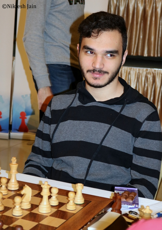 Amin Tabatabaei during his seventh round game at the Aeroflot Open 2018