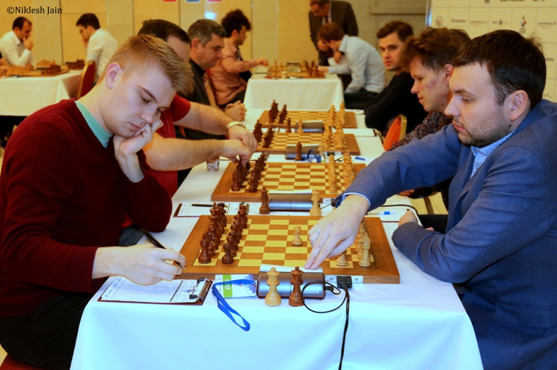seventh round game between Vladislav Kovalev and Igor Lysyj at the Aeroflot Open 2018