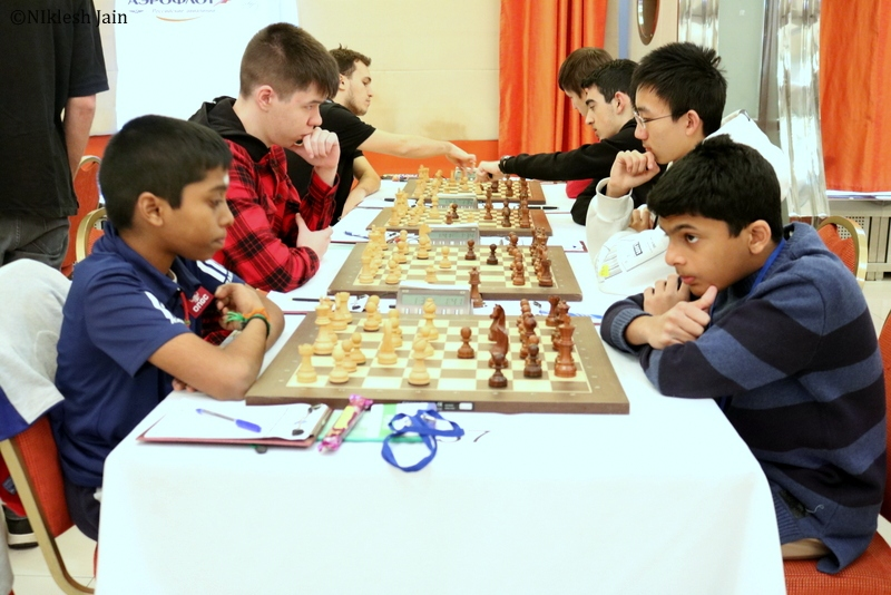 Praggnanandhaa and NIhal Sarin during their eight round game at the Aeroflot Chess Open 2018