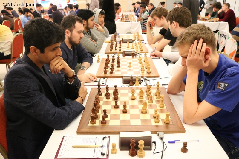 Vidit Gujrathi during his game against FM Aleksey Sorokin in round eight of the Aeroflot Chess Open 2018