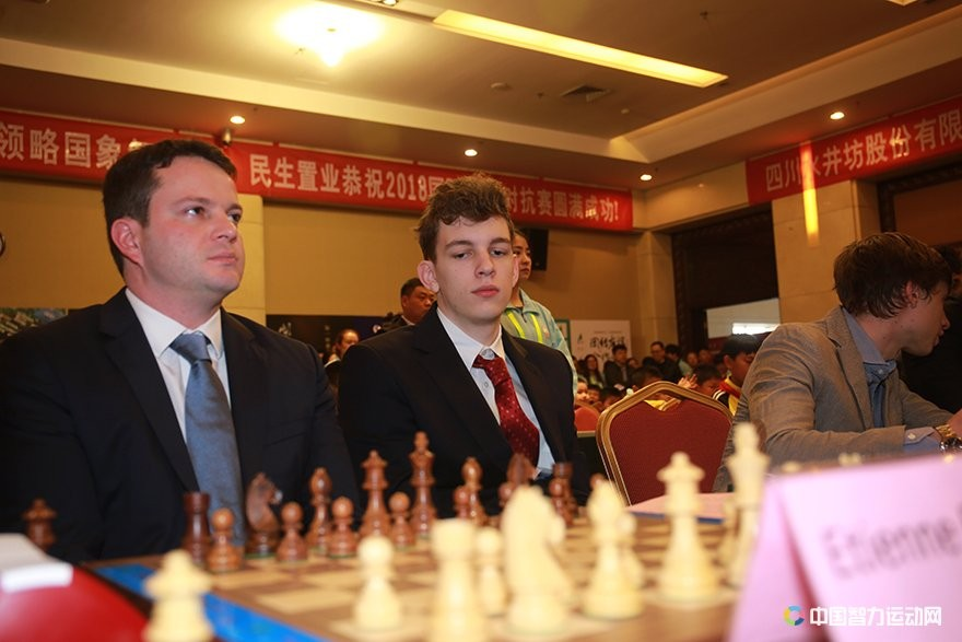 Etienne Bacrot and Jan Krzysztof Duda before the start of their game