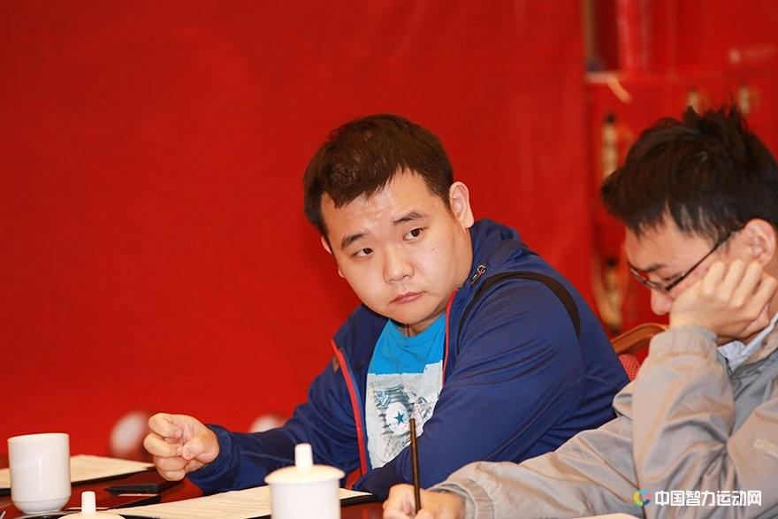 Li Chao at the technical meeting of the China versus the rest of the world match