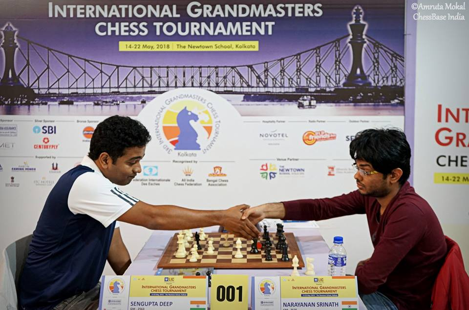 Deep Sengupta resigning his penultimate round game against Srinath Naryananan at the 3rd Kolkata International GM Open