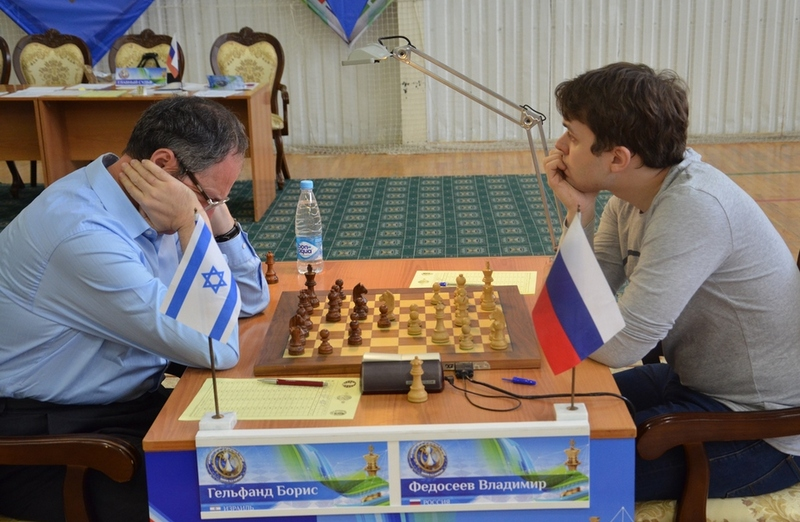 Gelfand against Fedoseev during the seventh round of Karpov Poikovsky Tournament